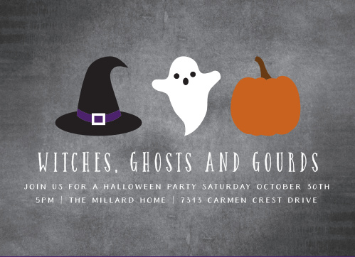 Spooky illustrations decorate the Ghosts & Gourds Halloween Party Invitations.
