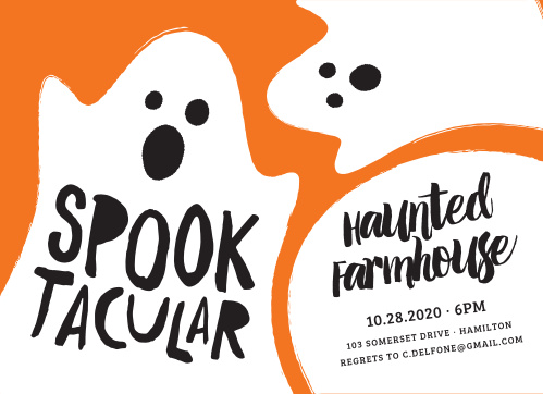 A pumpkin orange background is contrasted by a couple of ghastly ghouls for our Spooktacular Boo Halloween Party Invitations.