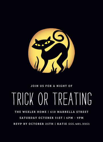 Our Black Cat Halloween Party Invitations catch the eye with a highly contrasted illustration of a black cat set against an eerie pumpkin glow.