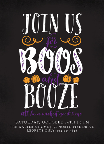 Invite your guests over for a wicked good time with the Boos & Booze Halloween Party Invitations.