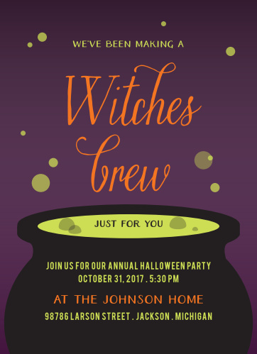 Double, double, toil & trouble! A sickly green brew, bubbles out of a big cauldron on our Witches Brew Halloween Party Invitations.