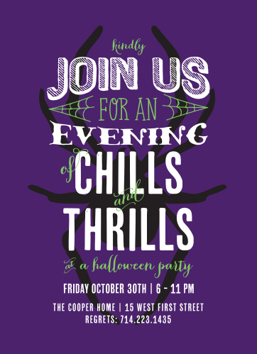 "Have your guests over for a night of ""Chills & Thrills"" with these frightful halloween party invitations!"