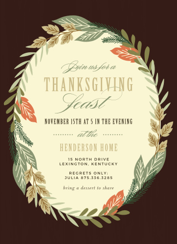 Help your loved ones remember what matters most during this fall season with the Festive Feast Thanksgiving Party Invitations.