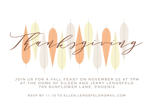 Make sure your guests know about your Thanksgiving Party using the Mid Century Leaves Thanksgiving Party Invitations.