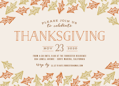 Send out your Thanksgiving party invitations in style using the Lovely Leaves Thanksgiving Party Invitations.