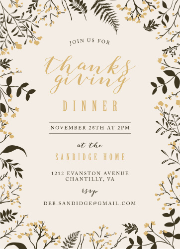 Autumn Branches Foil Thanksgiving Party Invitations