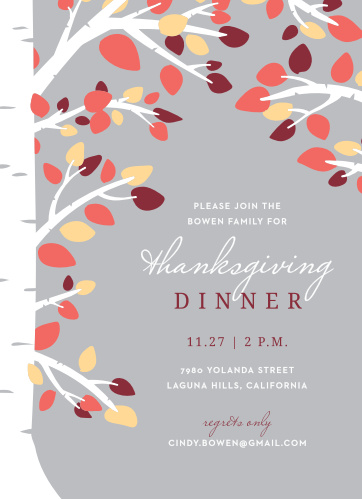 Invite your loved ones into your home this holiday season with the Autumn Birch Thanksgiving Party Invitations.