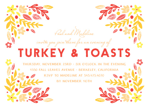 Invite your friends and family to the perfect Thanksgiving dinner with our Vibrant Frame Thanksgiving Party Invitations.