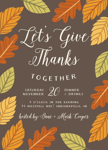 Falling leaves embrace your warm invitation on the Gratefully Together Thanksgiving Party Invitations