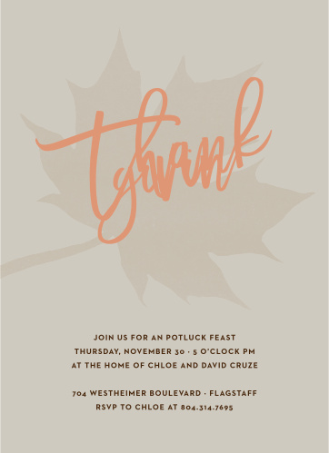 Give thanks using the Leafy Watercolor Thanksgiving Party Invitations this fall season.