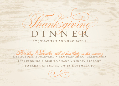 Wooden Elegance Thanksgiving Party Invitations