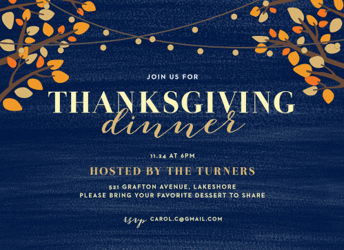 String Lights Foil Thanksgiving Party Invitations