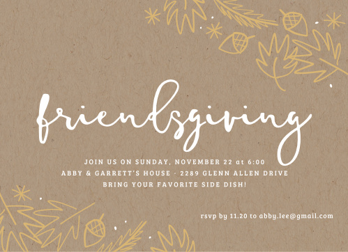 Celebrate the most gratitude-filled time of the year by inviting your loved ones to share a meal with the Simply Friends Foil Thanksgiving Party Invitations.