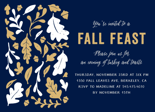 Make sure you party invitations have some class with the Fall Feast Foil Thanksgiving Party Invitations.