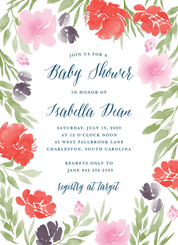 Make sure that the people you care about most are there to celebrate the arrival of your newest family member with our Watercolor Garden Baby Shower Invitations.
