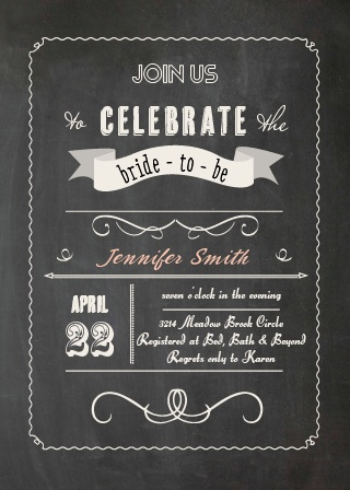 The Chalkboard invite has a traditional hand-lettered feel. It is the perfect invite for your authentic Bridal Shower.