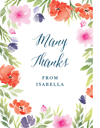 Beautiful flowers form the exterior border of our Watercolor Garden Baby Shower Thank You Cards.