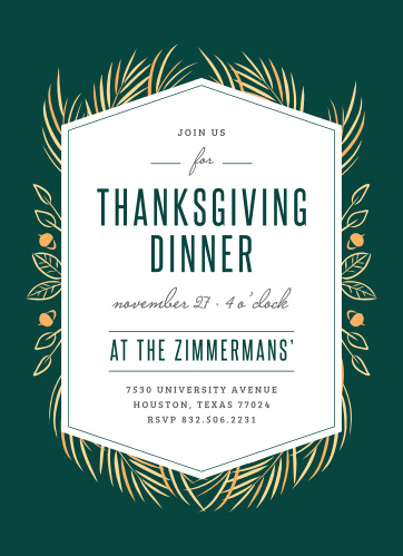 Have your friends and family over for a dinner and night to remember with the Autumn Elegance Thanksgiving Party Invitations!