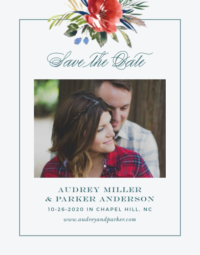The Arctic Florist Save the Date Cards feature an ecru background that is contrasted against the vivid red of the watercolored floral arrangement that adorns the top of the card.