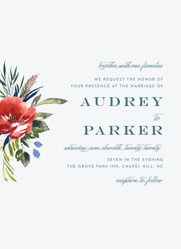 An ecru background sets a slight contrast against the vivid red of the watercolored floral arrangement on the Arctic Florist Wedding Invitations.