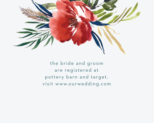 The Arctic Florist Registry Cards feature an ecru background that is contrasted against the vivid red of the watercolored floral arrangement that adorns the top of the card.