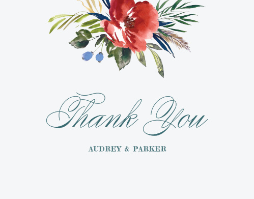 The Arctic Florist Thank You Cards feature an ecru background that is contrasted against the vivid red of the watercolored floral arrangement that adorns the top of the card.
