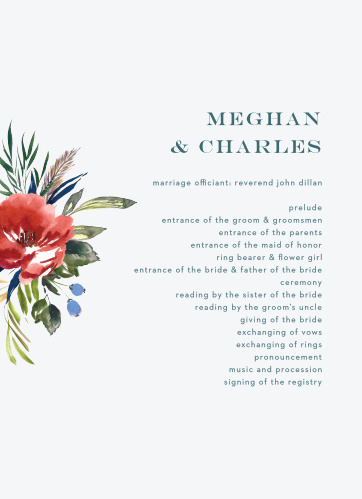 An ecru background sets a slight contrast against the vivid red of the watercolored floral arrangement on the Arctic Florist Wedding Programs.