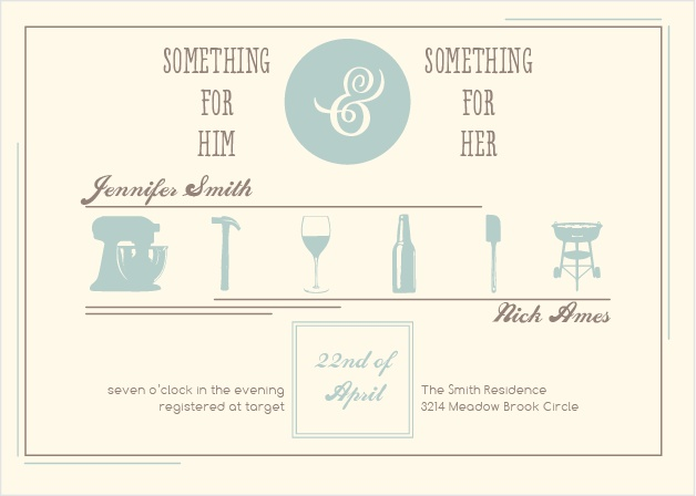The Him and Her invite is perfect for throwing a couples shower.