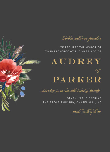 A stormy background contrasts against the vivid red of the watercolored floral arrangement on the Arctic Florist Foil Wedding Invitations.