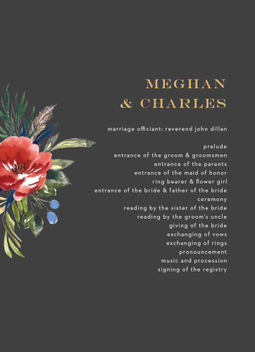 A stormy background contrasts against the vivid red of the watercolored floral arrangement on the Arctic Florist Foil Wedding Programs.
