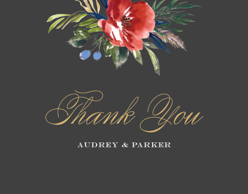 The Arctic Florist Foil Thank You Cards feature a stormy background that is contrasted against the vivid red of the watercolored floral arrangement that adorns the top of the card.