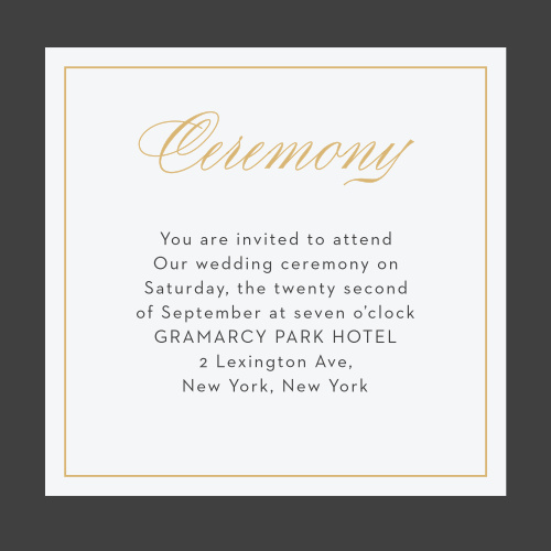 The Arctic Florist Foil Ceremony Cards feature a stormy background contrasted by an ecru text background and a gold foiled border framing an elegant script detailing the info of your intimate event.