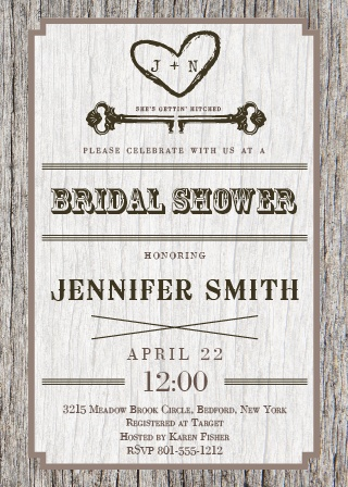 The Wood Bridal Shower Invite has a rustic feel to it and is perfect for that outdoor, antique themed wedding.