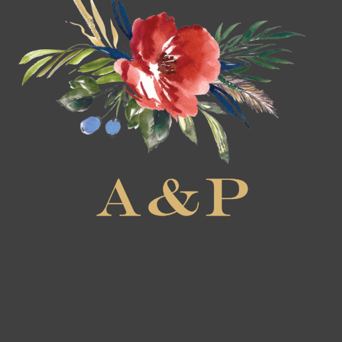 A vivid watercolored floral arrangement adorns your initials done up in a raised gold foiled font on the Arctic Florist Foil Wedding Stickers.
