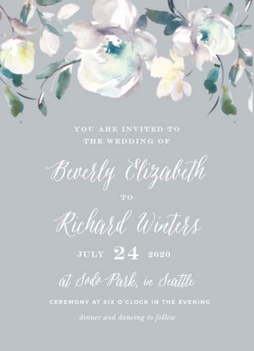The Antique Blooms Wedding Invitations feature vintage, watercolored florals atop a moonstone background.