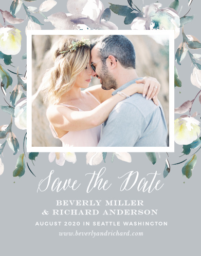 The Antique Blooms Save-the-Date Magnets feature vintage, watercolored florals framing your gorgeous engagement photo atop a moonstone background.