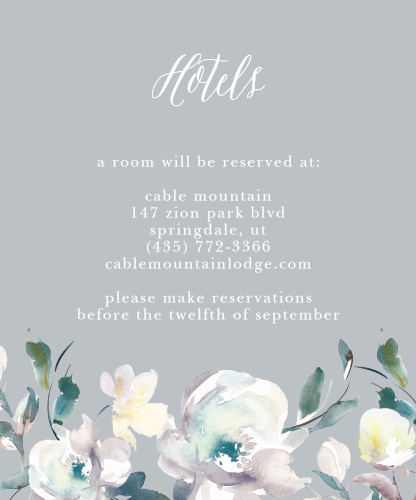 The Antique Blooms Accommodation Cards feature vintage, watercolored florals atop a moonstone background.