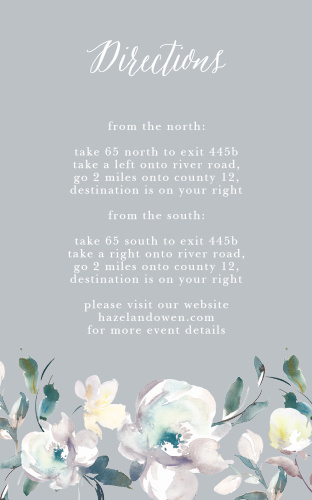 The Antique Blooms Direction Cards feature vintage, watercolored florals atop a moonstone background.