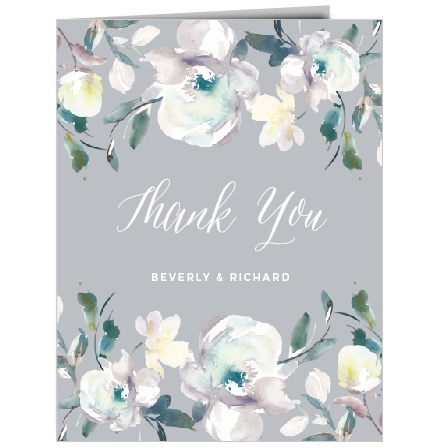 The Antique Blooms Thank You Cards feature vintage, watercolored florals atop a moonstone background.