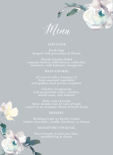 The Antique Blooms Wedding Menus feature vintage, watercolored florals atop a moonstone background.