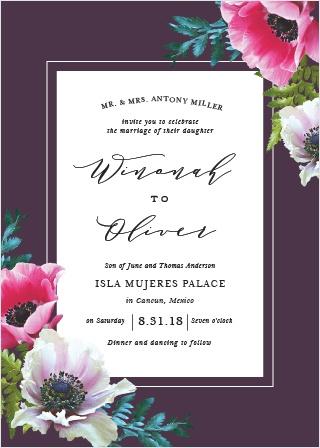 Vibrant Anemone Wedding Invitations