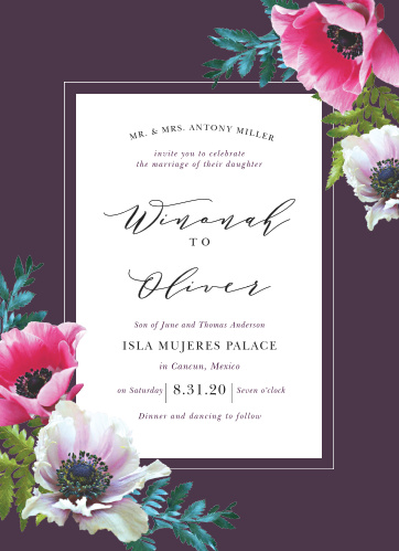 The Vibrant Anemone Wedding Invitations are an exquisite display of contrasts.