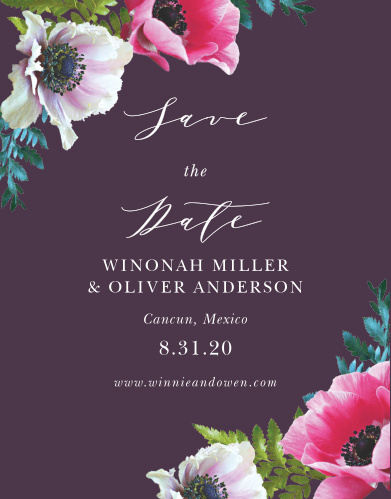 The Vibrant Anemone Save-the-Date Cards are an exquisite display of contrasts.