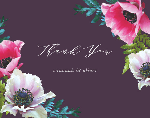 The Vibrant Anemone Thank You Cards are an exquisite display of contrasts.