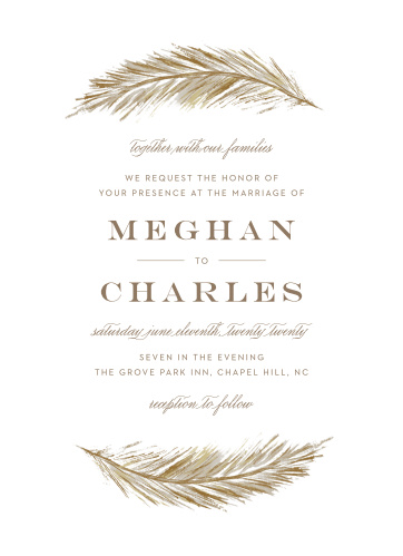 Your Falling Feathers Wedding Invitations are written in a trio of typefaces- an elegant print, a soft script, and a bold monospace- and adorned with gracefully floating feathers along the top and bottom borders.
