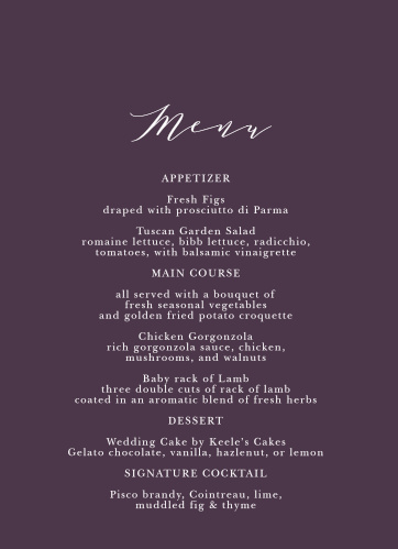 The Vibrant Anemone Wedding Menus are an exquisite display of contrasts.
