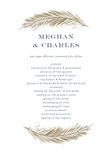 Guide your guests through each special moment and member of your wedding ceremony with our stunning Falling Feathers Foil Wedding Programs.