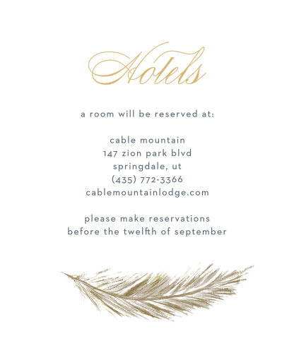 Falling Feathers Foil Accommodation Cards ensure that your guests are as comfortable in the days leading up to and away from your wedding as they are during.