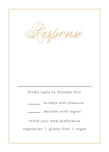 Tally up all of your guests' responses with the beautiful matching Falling Feathers Foil Response Cards.