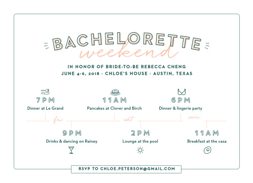 If you're having a multi-day event, the Illustrated Itinerary Bachelorette Party Invitations are the cards for you!
